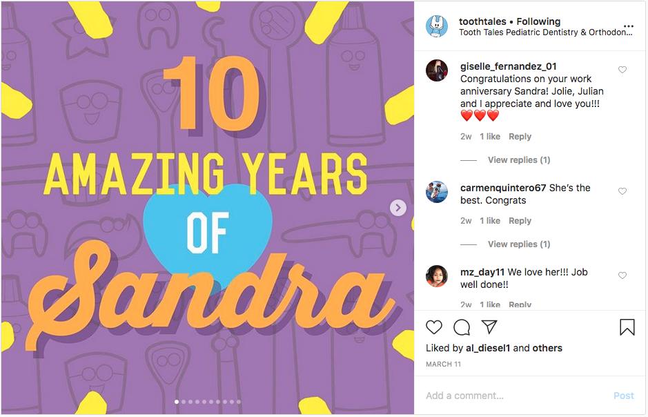 Dental Staff Anniversary Instagram Graphic